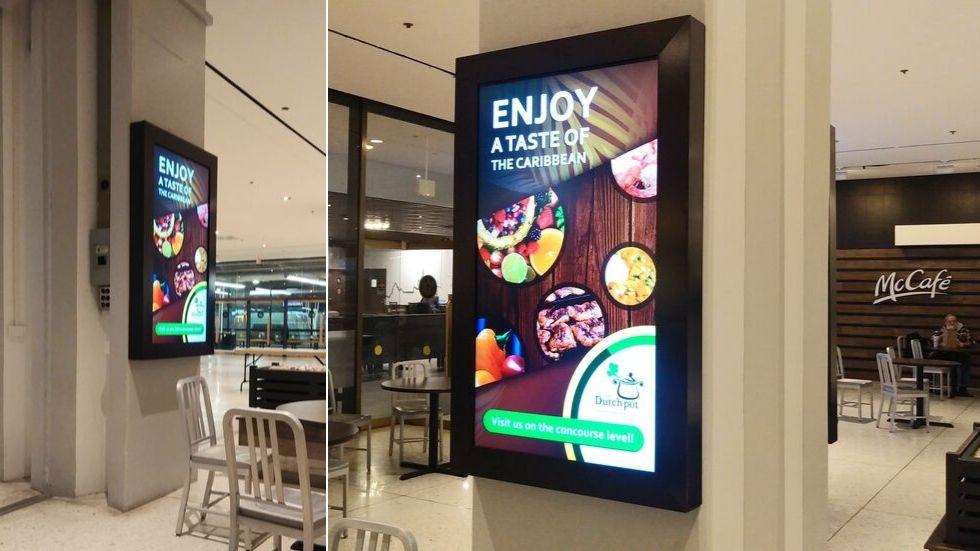 Digital signage advertising for dutch pot restaurant. Source: Michael Roach Creative - Digital Signage vs Static Signage - The Rev